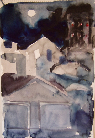 View of Garage Studio at Night, watercolor on paper, 20 by 12 in. Emilia Kallock 2005