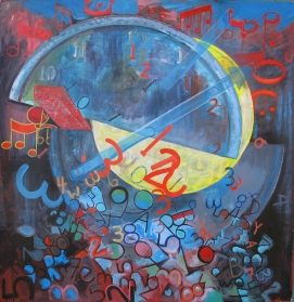Study of Time, acrylic on canvas, 54 by 54 in. Emilia Kallock 2014
