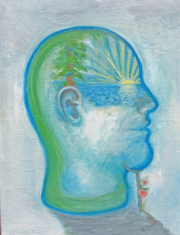Sunset Head, oil on canvas, 10 by 7.5 in. Emilia Kallock 2007