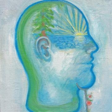 Sunset Head, oil on canvas, 10 by 7.5 in. Emilia Kallock 2007