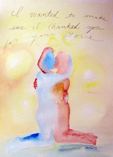 I Want to Thank You for Your Love, watercolor on paper, 8 by 7 in. Emilia Kallock 2016