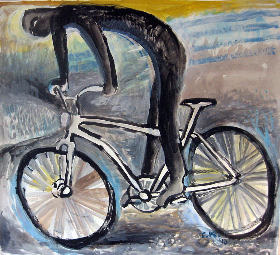 The Dark Rider, acrylic on paper, 48 by 48 in. Emilia Kallock 2010