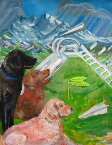Three Dogs and Slide, acrylic on paper, 40 by 30 in. Emilia Kallock 2007
