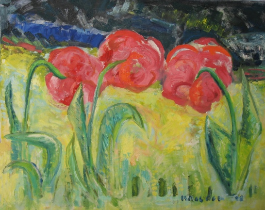 Three Tulips, oil on canvas, 24 by 30 in. Emilia Kallock 2008