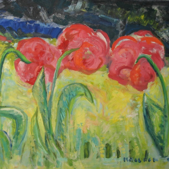 Three Tulips, oil on canvas, 24 by 30 in. Emilia Kallock 2008
