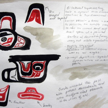 Tlingit Art Notes, watercolor and pencil on paper, 5 by 6 in, Emilia Kallock 2009