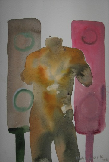 Torso and Speakers, watercolor on paper, 5 by 8 in, Emilia Kallock 2006