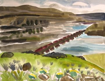 Train and River, watercolor on paper, 18 by 24 in. Emilia Kallock 2008