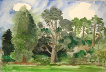 Volunteer's Park, Seattle, watercolor on paper, 14 by 20 in. Emilia Kallock 2007