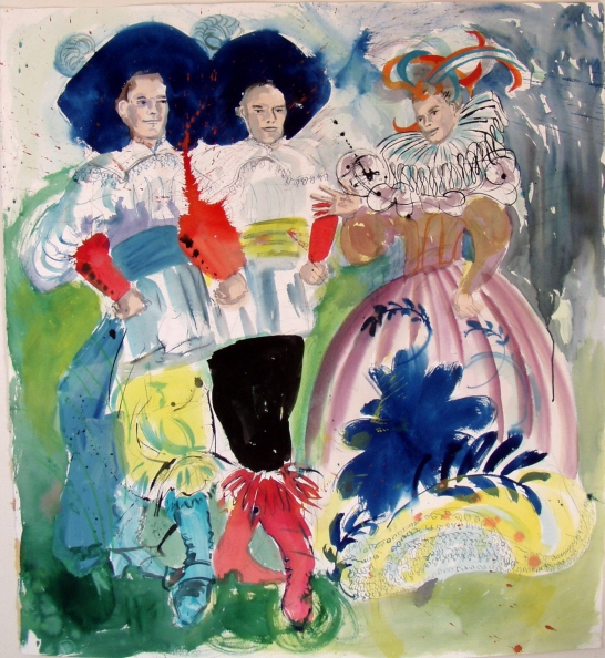 Trio, watercolor on paper, 40 by 35 in. Emilia Kallock 2006