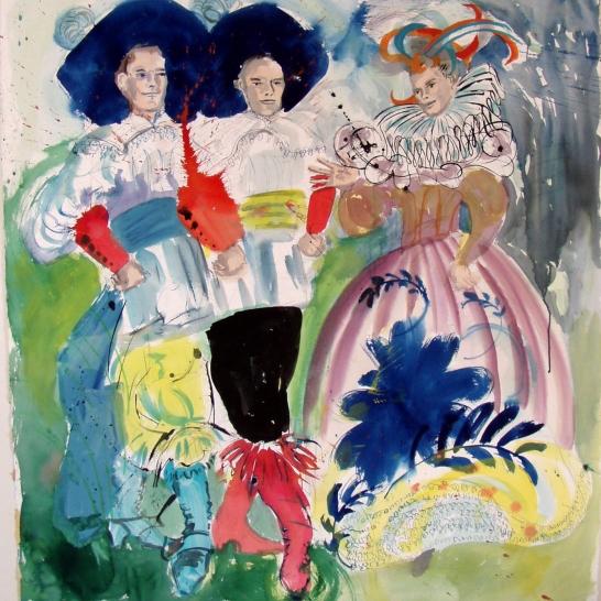 Trio, watercolor on paper, 40 by 35 in. Emilia Kallock 2006