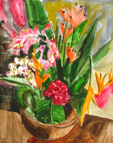 Tropical Arrangement, watercolor on paper, 14 by 10 in. Emilia Kallock 2007