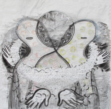 Two Figures and Clock, ink on meat packing paper, 48 by 48 in. Emilia Kallock 2013