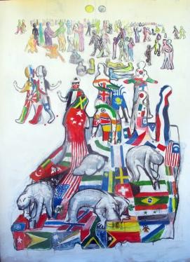 Untitled; Society, acrylic on canvas, 58 by 45 in. Emilia Kallock 2014