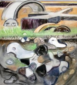 Untitiled Scene, oil on canvas 74 by 65 in. Emilia Kallock, 2014