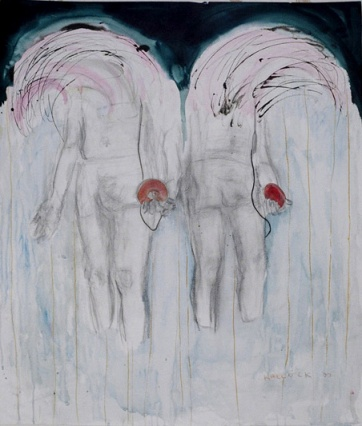 Walkman Boys, watercolor and ink on paper, 42 by 30 in. Emilia Kallock 2002