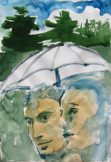Watercolor Boys 5, watercolor on paper, 5 by 8 in. Emilia Kallock 2006