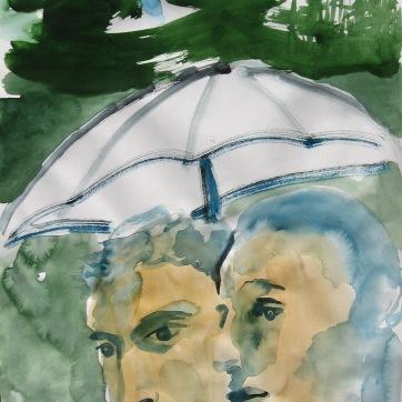 Watercolor Boys 5, watercolor on paper, 5 by 8 in. Emilia Kallock 2006