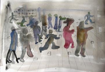 Watercolor People, watercolor on paper, 8 by 12 in. Emilia Kallock 2006