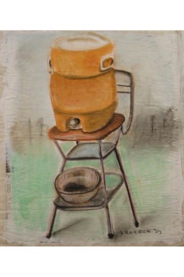 Water Cooler and Chair, acrylic and chalk pastel on primed newsprint, 22 by 14 in. Emilia Kallock 2003