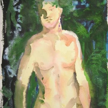 Watercolor Boys 3, watercolor on paper, 4 by 7 in. Emilia Kallock 2006