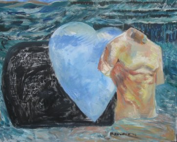 Torso and Heart, oil on canvas, 26 by 30 in, Emilia Kallock 2008