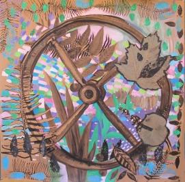 Alex's Wheel, ink on acrylic on wallpaper, 53 by 53 in. Emilia Kallock 2014