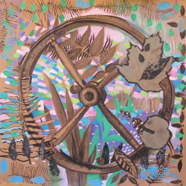 Alex's Wheel, ink on acrylic on wallpaper, 53 by 53 in. Emilia Kallock 2014