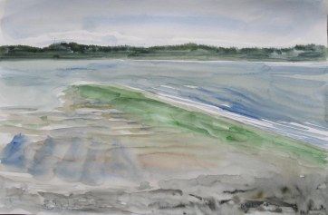 Whidbey Island, watercolor on paper, 8 by 15 in. Emilia Kallock 2008