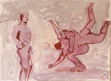 Muybridge Study, acrylic and housepaint on paper, 22 by 16 in. Emilia Kallock 2003