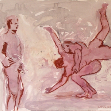 Muybridge Study, acrylic and housepaint on paper, 22 by 16 in. Emilia Kallock 2003