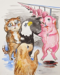 Cat, Dog, Eagle and Pig, watercolor on paper, 16 by 12 in. Emilia Kallock 2013