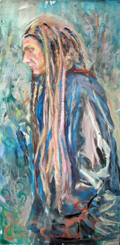 Steven Scramlin, acrylic on board, 48 by 24 in. Emilia Kallock 2015
