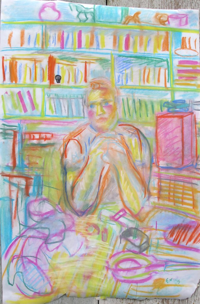 Study of Josh at the table, chalk pastel on newsprint, 28 by 18 in. Emilia Kallock 2015