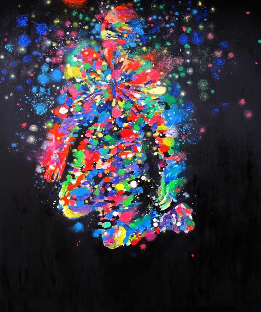 Kneeling Figure, acrylic and glitter on canvas, 72 by 60 in. Emilia Kallock 2015