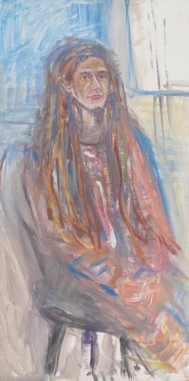 Steven 3, acrylic on board, 48 by 24 in. Emilia Kallock 2015