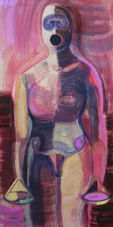 Untitled, Figure, oil on board, 48 by 24 in. Emilia Kallock 2015