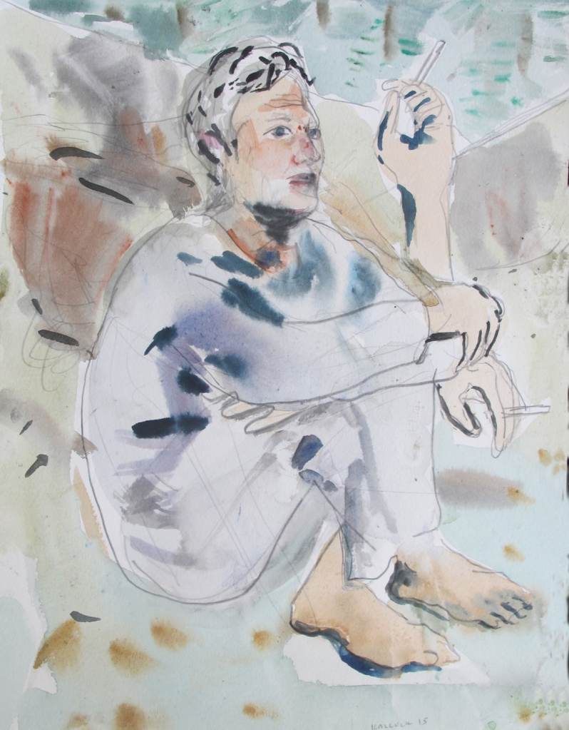 Matt Among the Boulders, watercolor on paper, 11 x 8 in.  Emilia Kallock 2015