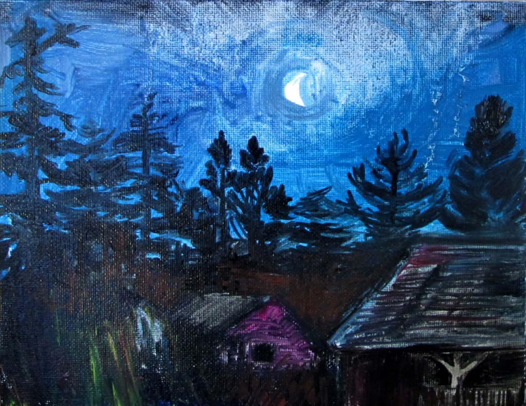 Moon and the Old Barns, oil on canvas, 4 by 6 in, Emilia Kallock 2015