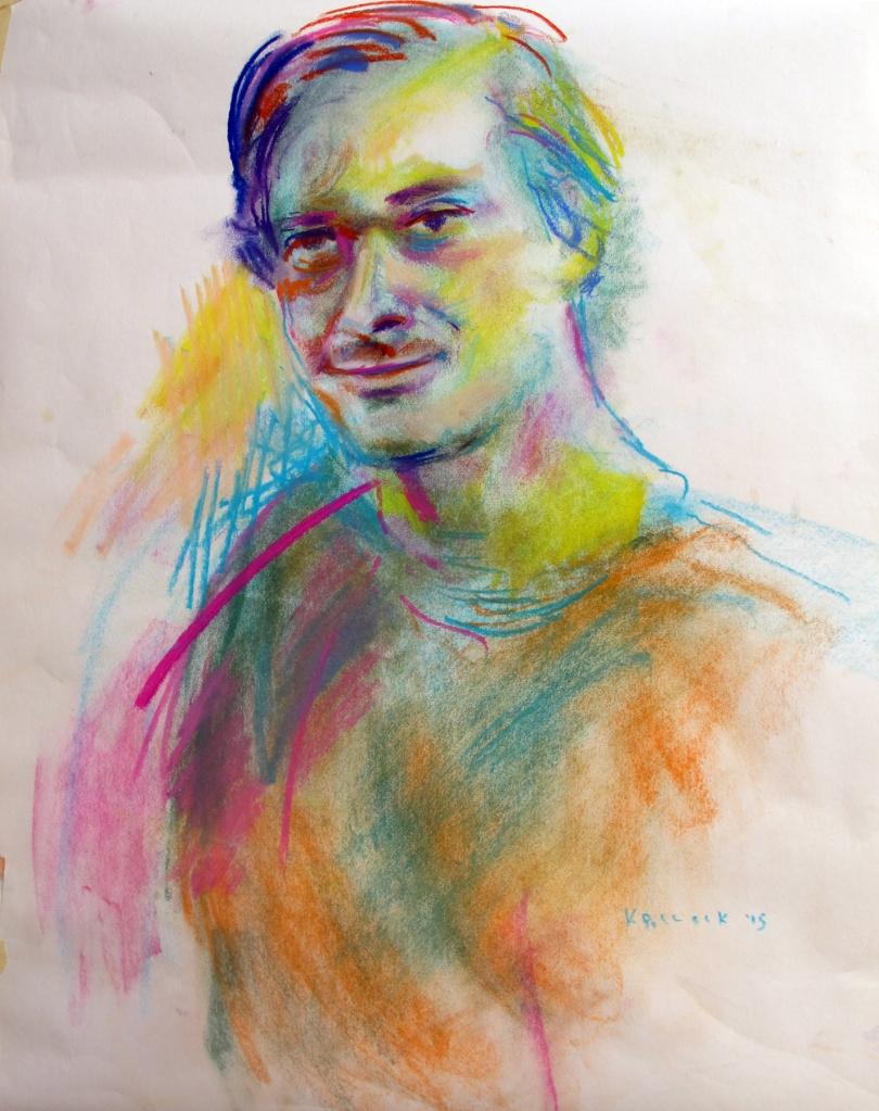 Luc 2, chalk pastel on newsprint, 24 x 18 in. Emilia Kallock 2015