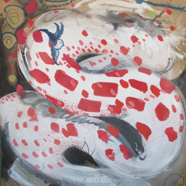 White Dragon with Polkadots and Bird, acrylic on paper, 57 by 53 in. Emilia Kallock 2015