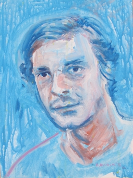 Portrait of a Man in Blue, water soluble ink on canvas, 14 by 12 in. Emilia Kallock 2015