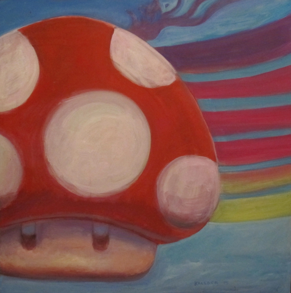 Amanita Muscaria #3, oil on board, 28 by 28 in. Emilia Kallock 2015