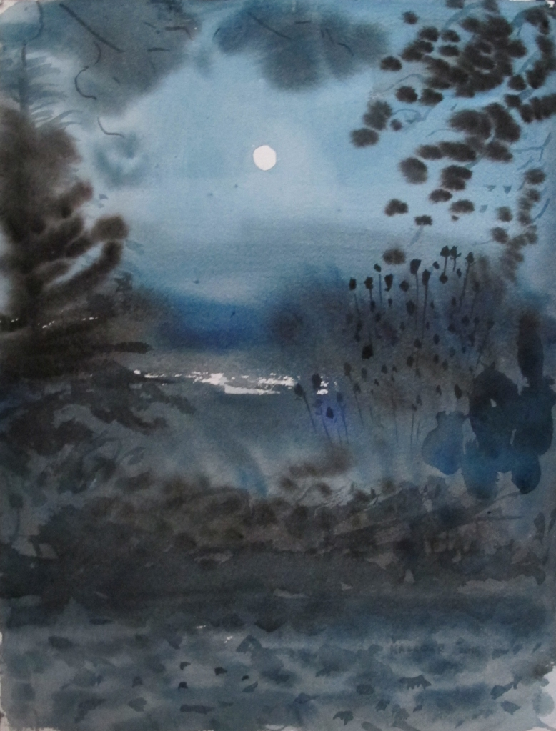 Harvest Moon 2015,  watercolor on paper, 16 by 12 in. Emilia Kallock 2015