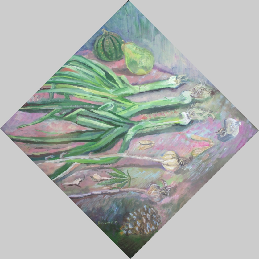 Still Life #1, oil on board, 22 by 22 in. Emilia Kallock 2015