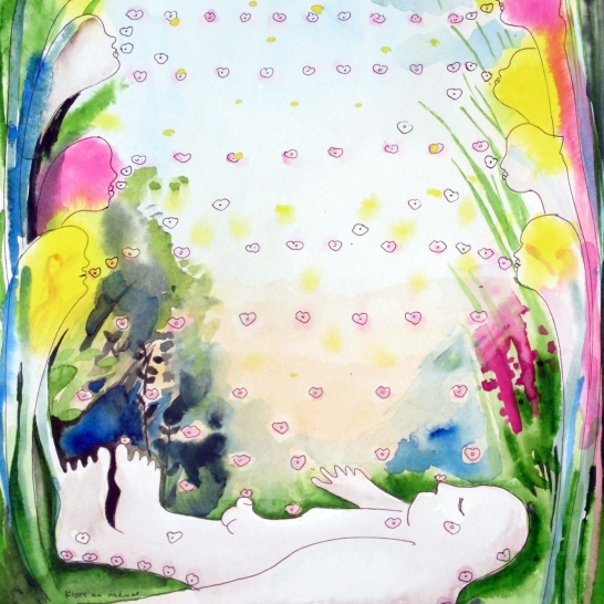 Kisses Au Naturel, watercolor on paper, 12 by 9 in. Emilia Kallock 2015