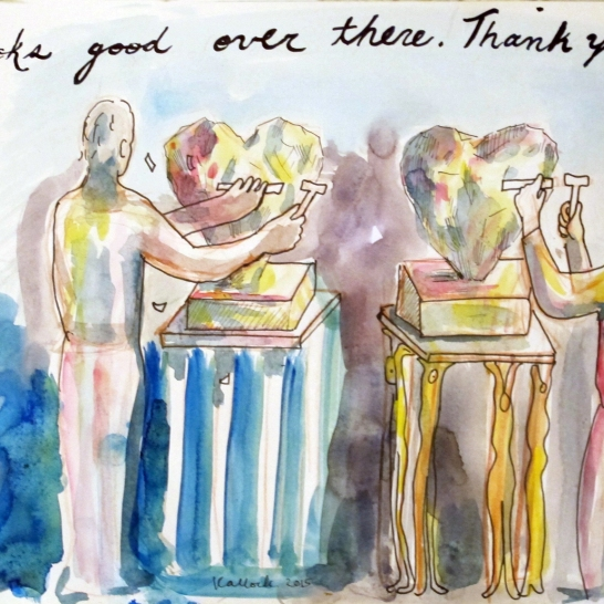 Looks Good Over There. Thank You, watercolor on paper, 9 by 12 in. Emilia Kallock 2015