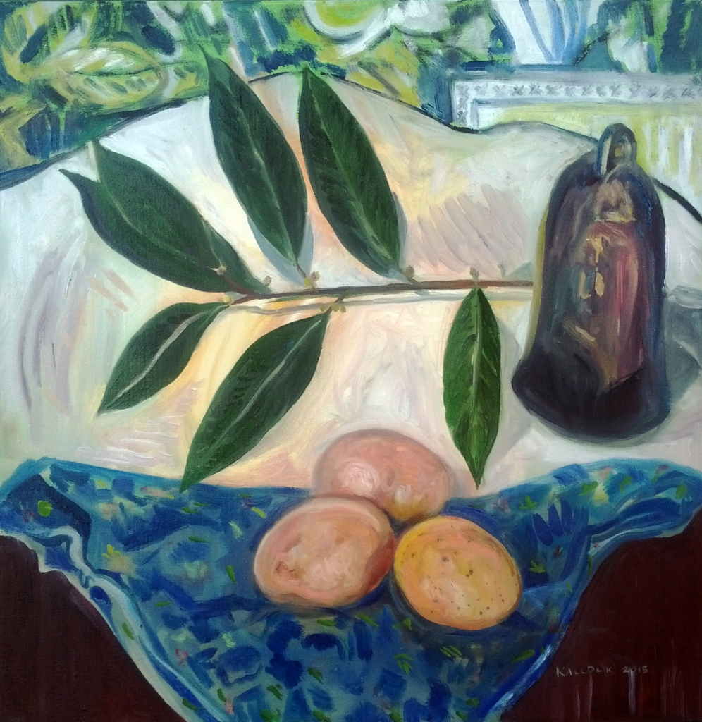 Bay Laurel, Eggs and Bell Still Life, oil on canvas, 19 by 19 in. Emilia Kallock 2015