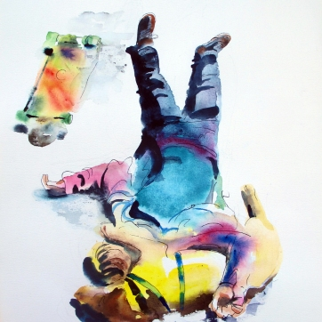 Skateboarder and Dog, watercolor and ink on paper, 34 by 24 in. Emilia Kallock 2015