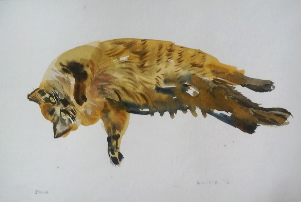 Matt Pierce's Cat Jonsie, watercolor on paper, 7.5 by 11 in. Emilia Kallock 2015